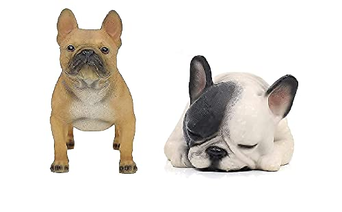 """Comfy Hour Doggyland Collection, Bundle of 2, Miniature Dog Collectibles 6"""" Lying Sleeping and Standing French Bulldog Figurine, Polyresin, Set of 2"""