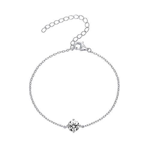 PAVOI 14K Gold Plated Cubic Zirconia Solitaire Diamond Bracelet   Bridesmaid Bracelets   White Gold Bracelets for Women
