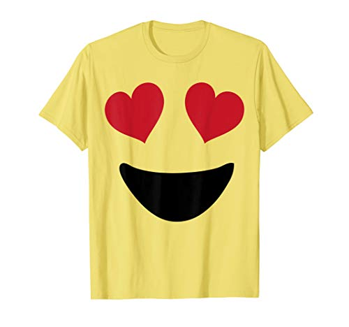 Emoji T Shirt Halloween Costume Heart Eyes and A Big Smile