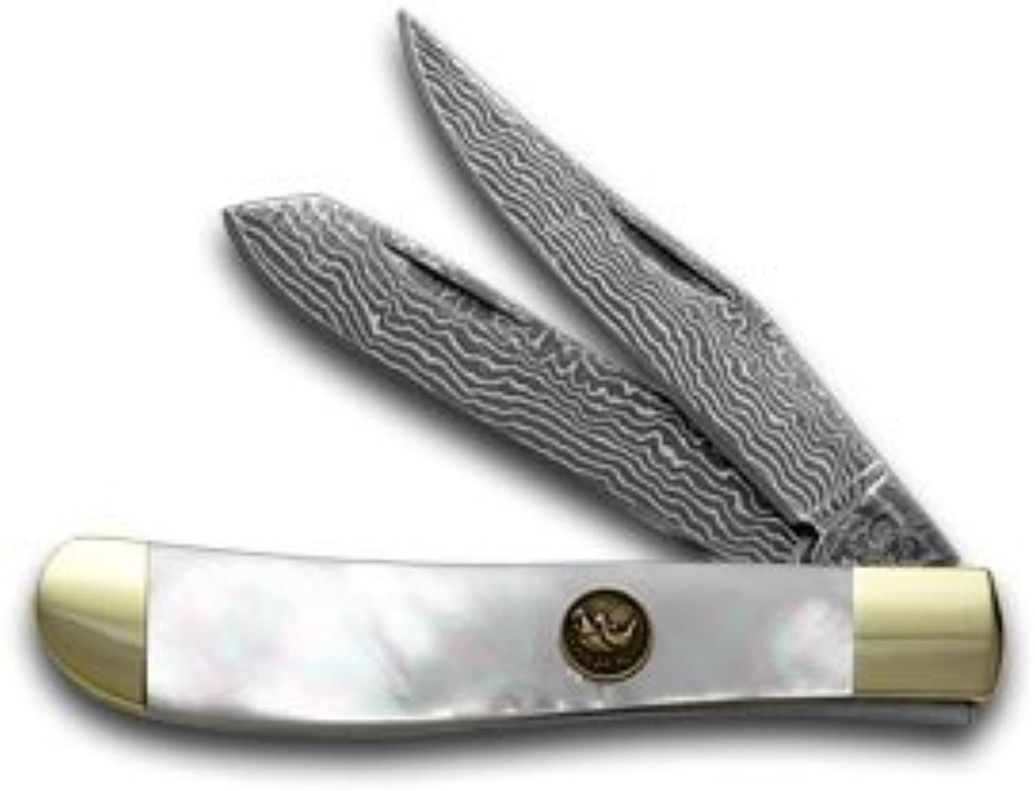Hen and Rooster Damascus Genuine Mother of Pearl Mini Trapper Pocket Knife Knives