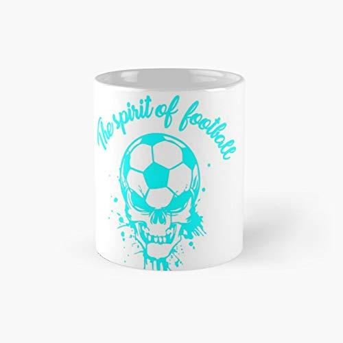 The Spirit of Football - Camiseta de moda con diseño de esqueleto clásico | El mejor regalo divertidas tazas de café de 11 onzas