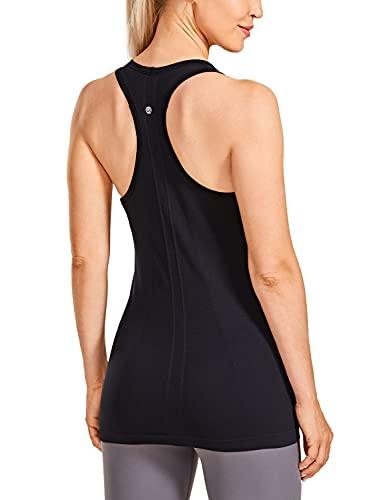 CRZ YOGA Women's Active Seamless Workout Tank Tops Racerback Running Yoga Gym Shirts Long Length A1-Black Medium