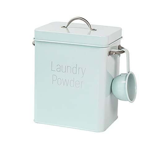 tarros Detergente De Lavandería Polvo De Almacenamiento Caja De Hojalata De Metal Cuadrado Harina De Arroz Alimento De Cocina Contenedor Alimentos (Color : Blue)