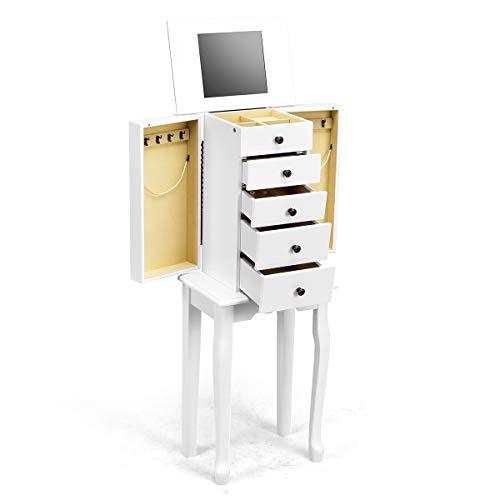 GOPLUS Mobile Portagioie Bianco in Legno Armadio Portagioielli con Specchio Gioielleria 31,5x21,5x86,4cm