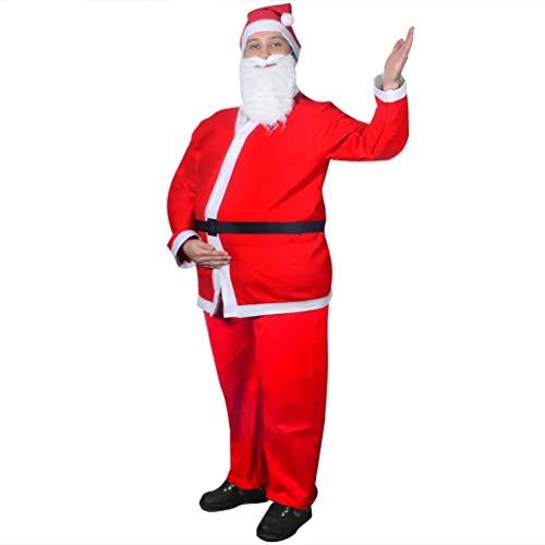 Cikonielf Navidad Santa Claus traje para hombres, 5 piezas conjunto completo traje pana Navidad Cosplay traje adulto Santa traje