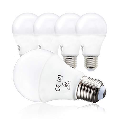B.K.Licht LED Glühbirne, 5er Set E27, A60 Leuchtmittel, je 9 Watt, je 806 Lumen, 2700 Kelvin