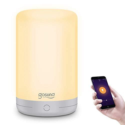 Smart LED Nachttischlampe, Gosund RGB+W Dimmbar Mehrfarbig Tischlampe, WLAN Touch-Tischleuchte für Schlafzimmer und Studierzimmer,kompatibel mit Alexa, Google Home, Stimmen und Fernsteuerung, 2.4GHz