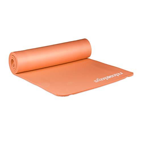 Relaxdays Unisex– Erwachsene Yogamatte, 1 cm dick, für Pilates, Fitness, gelenkschonend, mit Tragegurt, Gymnastikmatte 60 x 180 cm, orange, 1 Stück