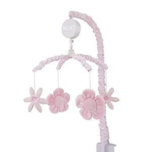 NoJo – Countryside Floral Mobile, Nursery Crib Changing Table Musical Mobile – Pink Plush Flowers Shapes