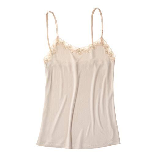 Uwila Warrior Soft Silks Camisole for Women | 100% Natural Silk Cami with Lace Detail - grey - Medium