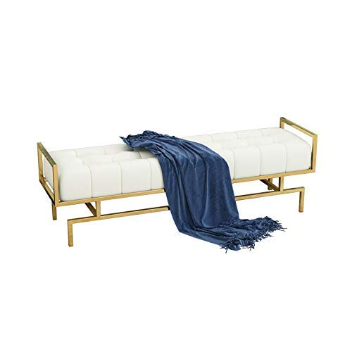 KEKEYANG Asiento Tufted Zapato Banco tapizado Cama Extremos con Sus Patas de Oro, Final del Oro con Patas de Calzado Bastidores (Color: Blanco, Tamaño: 100 * 40 * 45cm) Zapatero