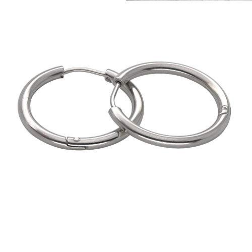 1 par de pendientes de aro de acero inoxidable en tono negro / oro rosa / plateado, pendientes redondos para hombres y mujeres, joyería hipérbole de gran tamaño-Plata_5 mm-12 mm
