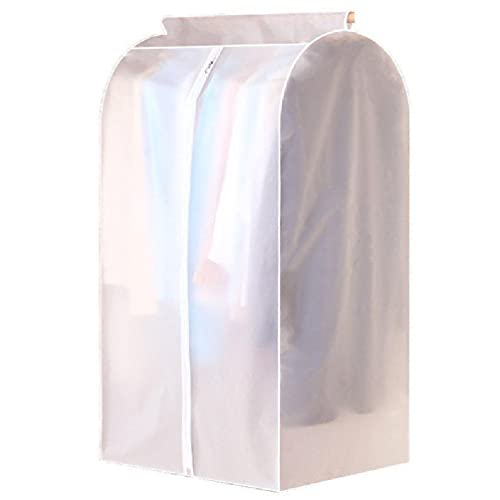 BASSK Large Capacity Translucent Clothes Cover Protector Dustproof Hanging Clothing Storage Bag with Full Zipper Waterproof Breathable Garment Covers for Storage Coat Dress Trench Coat Closet