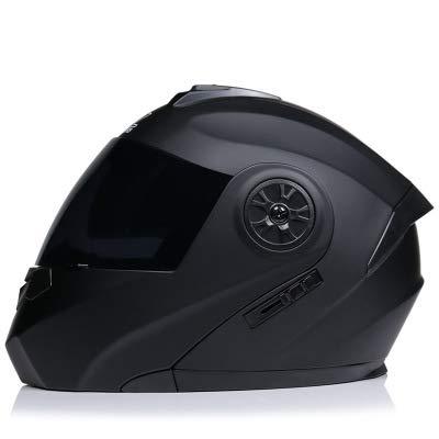 AYYSHOP Casco De Moto Integral, HD Visera Antiniebla Abatible Casco De Moto para Motocicleta, Flip Cara Moto Casco De Cuatro Temporadas Dot Homologado,Black with Tea Mirror,M
