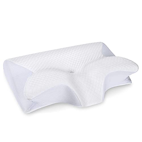 HOMCA Memory Foam Cervical Pillow, 2 in 1 Ergonomic Contour Orthopedic Pillow for Neck Pain, Contoured Support Pillows for Side Back Stomach Sleepers (White)