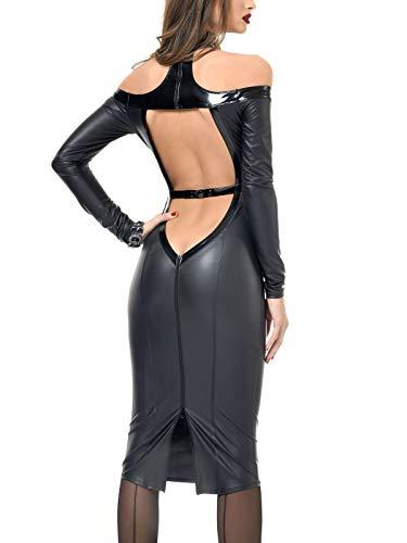 Patrice Catanzaro Wetlookkleid Sexy Dress schwarz Cocktail Kleid mit Ausschnitt, Farbe:Schwarz, Größe:L