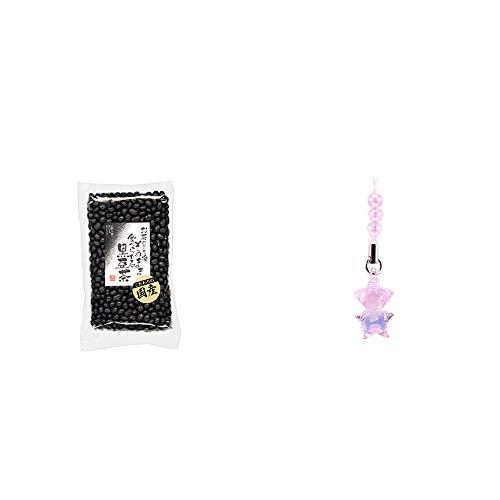 [2点セット] 国産 黒豆茶(200g)・ガラスのさるぼぼ 手作りキーホルダー【ピンク】 /恋愛運・素敵な出会い・幸せな結婚・豊かな人間関係//
