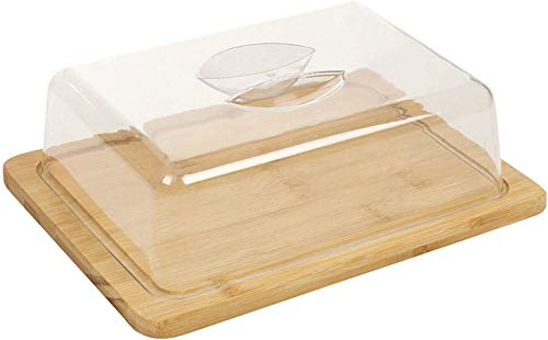 Vita Perfetta - Bandeja para queso de bambú y campana – Caja de queso de bambú, ideal para almuerzo, picnic, cocina