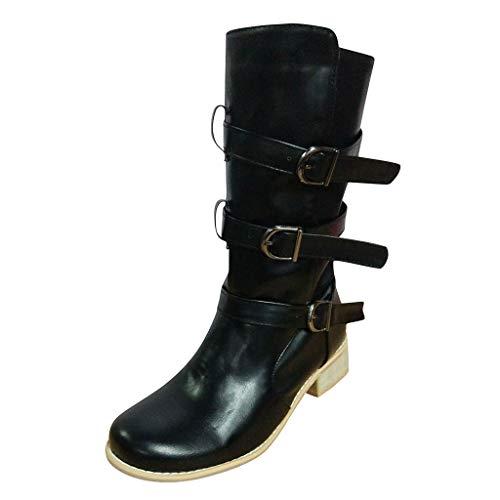 Damen Schuhe Freizeitschuhe Cowboy Reitstiefel Retro Lässige Large Size Middle Tube Boots Schuh Einfarbige Stiefel (Schwarz, 39.5 EU)