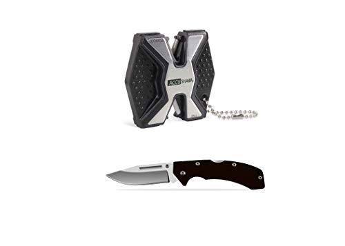 AccuSharp Diamond Pro 2-Step Knife Sharpener & Lockback Folding Knife Set - Made of Anodized...