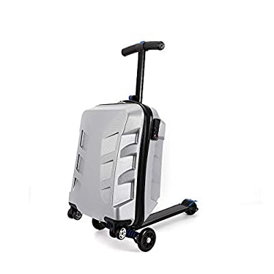 """DiLiBee 20"""" Suitcase Scooter Travel Carry on Luggage Scooter Business 5 Wheels Case for Outdoor Travel/Business Scooter for Adult with Front Luggage Box Luggage Wheeled Waterproof (Silver)"""