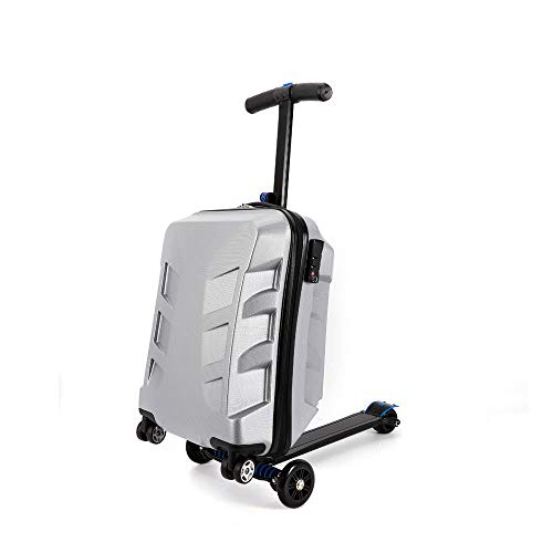 DiLiBee 20' Suitcase Scooter Travel Carry on Luggage Scooter Business 5 Wheels Case for Outdoor Travel/Business Scooter for Adult with Front Luggage Box Luggage Wheeled Waterproof (Silver)