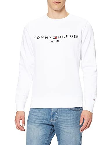 Tommy Hilfiger Tommy Logo Sweatshirt Maglia di Tuta, Bianco, M Uomo