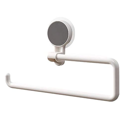 ZAK168 Saugnapf Küchenrollenhalter, Vakuum-System, 360 Grad drehbar, Mehrzweck-Handtuchhalter Papierhalter für Bad & Küche, weiß, Free Size