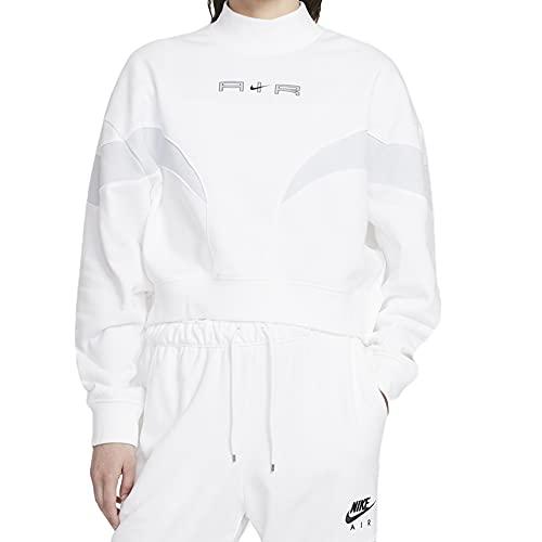 NIKE W NSW Air FLC Mock LS Top Sweatshirt, White/Pure Platinum/(Black), M Women's