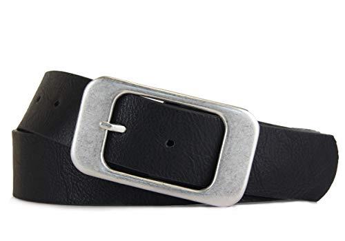 Schlichter Damen Gürtel mit klassischer silberner Schnalle, Breite ca. 3,7 cm, Schwarz, 100 cm (für Hüftweite 95-105 cm)