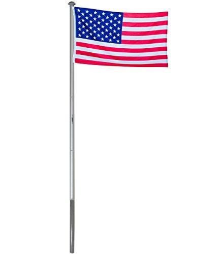 Brubaker Aluminium Fahnenmast Flaggenmast 6 m inklusive Deutschland Flagge + USA Flagge 150 x 90 cm und Bodenhülse