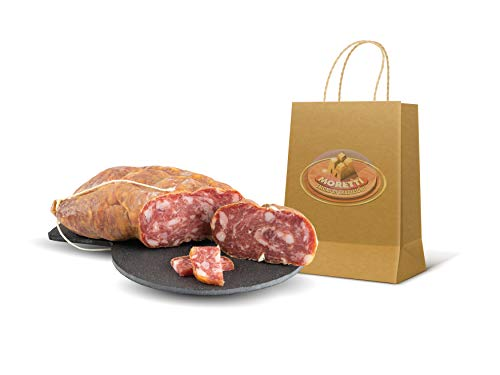 Moretti® | Soppressata Stagionata Dolce Bianca | 2 Confezioni circa 700g | Salame Artigianale Di Puro Suino | Regalo Tagliere In Legno