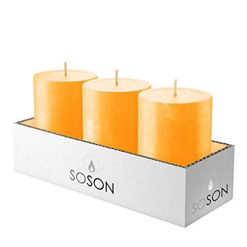 Simply Soson 3x4 Apricot Orange Textured Pillar Candle Unscented Long Burn Textured Candles for Home Cotton Wick Scent Free Paraffin Wax. Slow Burning Party and Home Decoration (Pack of 3)