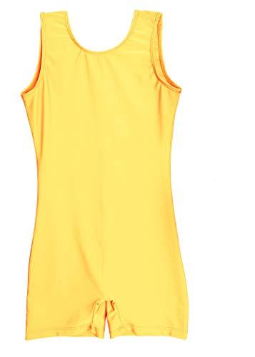 Speerise Unitard Kids Short Tank Biketard Dance Costumes for Girls Gymnastics, Yellow, 6X-7
