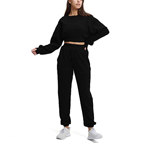 Aoxjox Sweat Suits for Women Set 2 piece Outfit Ribbed Cropped Oversized Sweatshirt with Full Length Cuffed Joggers (Black, Small)