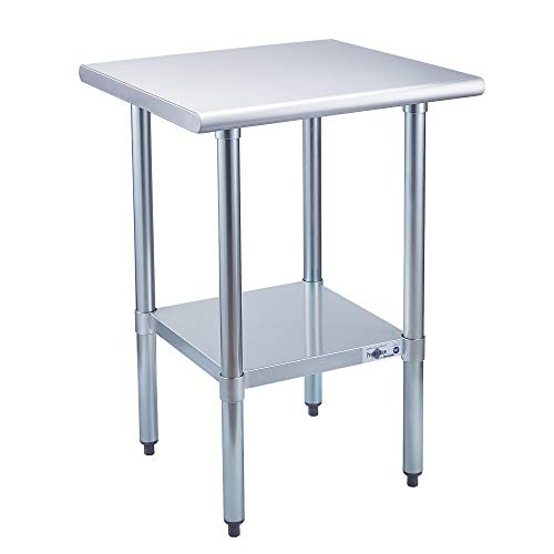 Profeeshaw Stainless Steel Prep Table NSF Commercial Work Table with Undershelf for Kitchen Restaurant 24×24 Inch