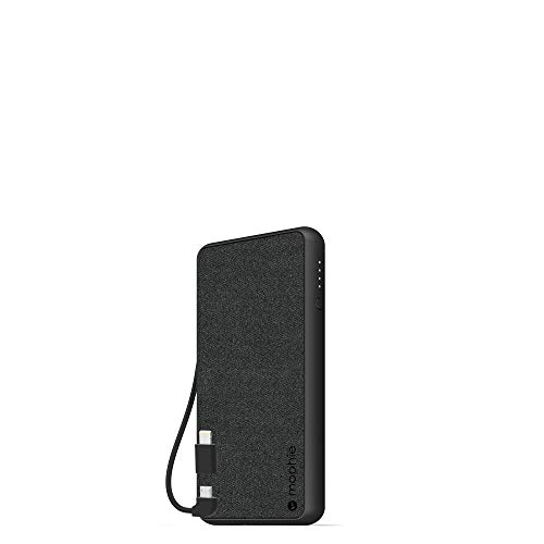 Mophie powerstation Plus (6,000mAh) - Qi Wireless Charging with Built in Micro USB and Lighning Cables - Black