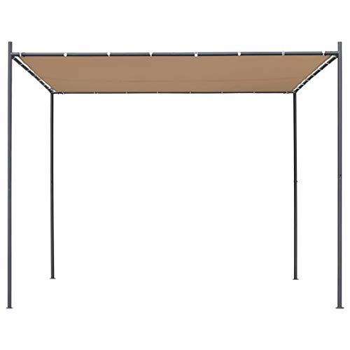 mewmewcat Cenador de Jardín Pergolas para Jardin con Tejado Plano 3x3x2,4 m Beige