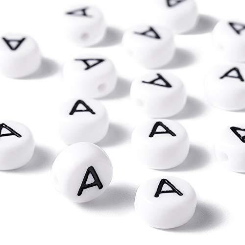 Pandahall 100 cuentas de letras vocales de 7 x 4 mm blancas redondas con letras A cuentas acrílicas para hacer joyas