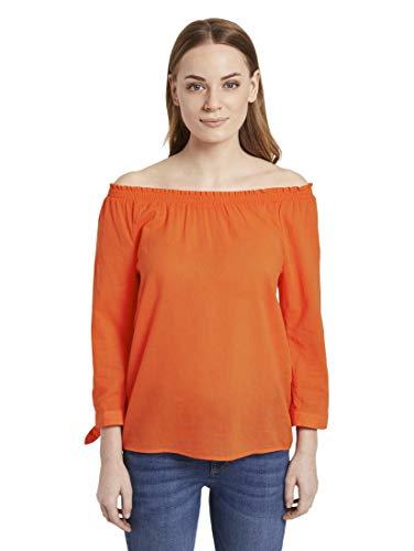 TOM TAILOR Damen Blusen, Shirts & Hemden Schulterfreie Carmen-Bluse mit Knotendetail Strong Flame orange,44,22370,4000