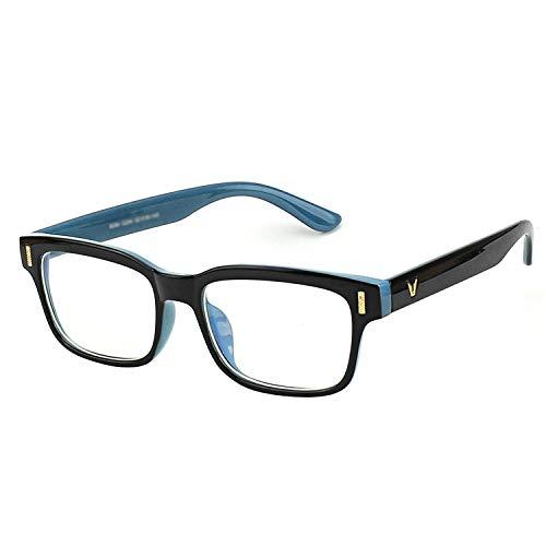 CGID CT84 Computer Glasses Readers Reading Video Gaming Glasses of Anti Blue Light Eye Strain and UV Light,Vintage Rectangle Black Blue Frame,Transparnet Lens