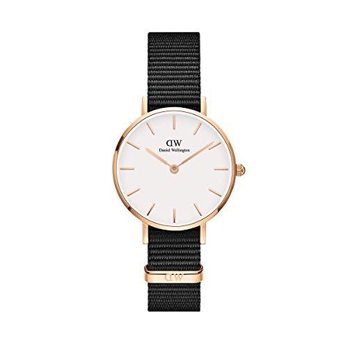 Daniel Wellington Petite Cornwall, Schwarz/Roségold Uhr, 28mm, NATO, für Damen