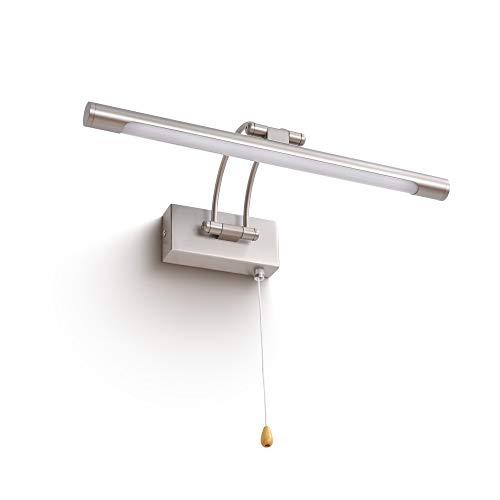 MantoLite Wandleuchte 8W,Metall Badezimmer Spiegel-Leuchte,LED-Bilderleuchte Mit Schwenkbarem Lampenkopf Und Zugschalter,Arc Arm 560LM 40CM Warmweiß Lampe Nachttisch Leseleuchte(Nickel, 40CM)
