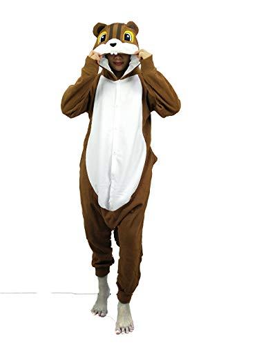 dressfan Onesie Adulto Unisex Animal Onesie Ardilla Disfraz de Halloween Cosplay Disfraz de Navidad