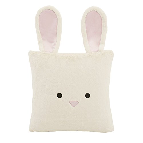 "Best Home Fashion Closeout Faux Fur Animal Pillow Cover - Rabbit - Pink - 18"" W x 18"" L - Set of 2 Pillow Covers (No Inserts"