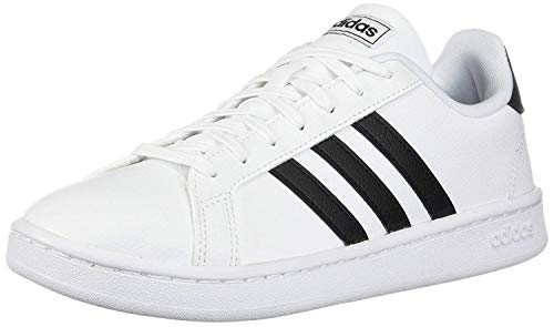 adidas Unisex-Kid's Grand Court Sneaker, White/Black/White, 3.5 Big Kid