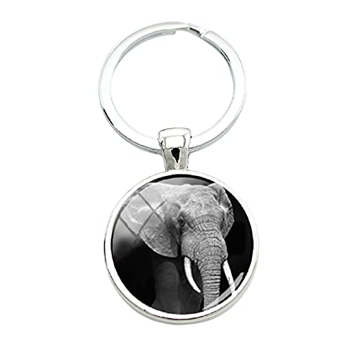 In bianco e nero sfondo animali portachiavi per gli amanti degli animali elefante tigre leone foto classico portachiavi in vetro
