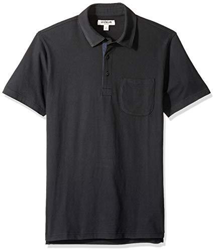 Amazon-Marke - Goodthreads Herren Poloshirt, kurzärmlig, aus Jersey in Wildlederoptik, Black, Large