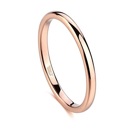 Greenpod 2mm Thin Tungsten Wedding Bands for Women Rose Gold/Silvery Domed Slim Engagement Promise Ring Comfort Fit Size 4-12 (Rose Gold, 8.5)