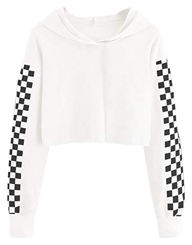 Imily Bela Kids Crop Tops Girls Hoodies Cute Plaid Long Sleeve Fashion Sweatshirts White